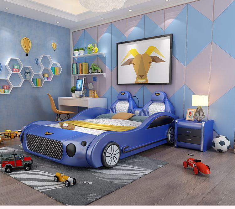 Mẫu giường ngủ ô tô thể thao đa tính năng cho bé GTE041 màu xanh da trời