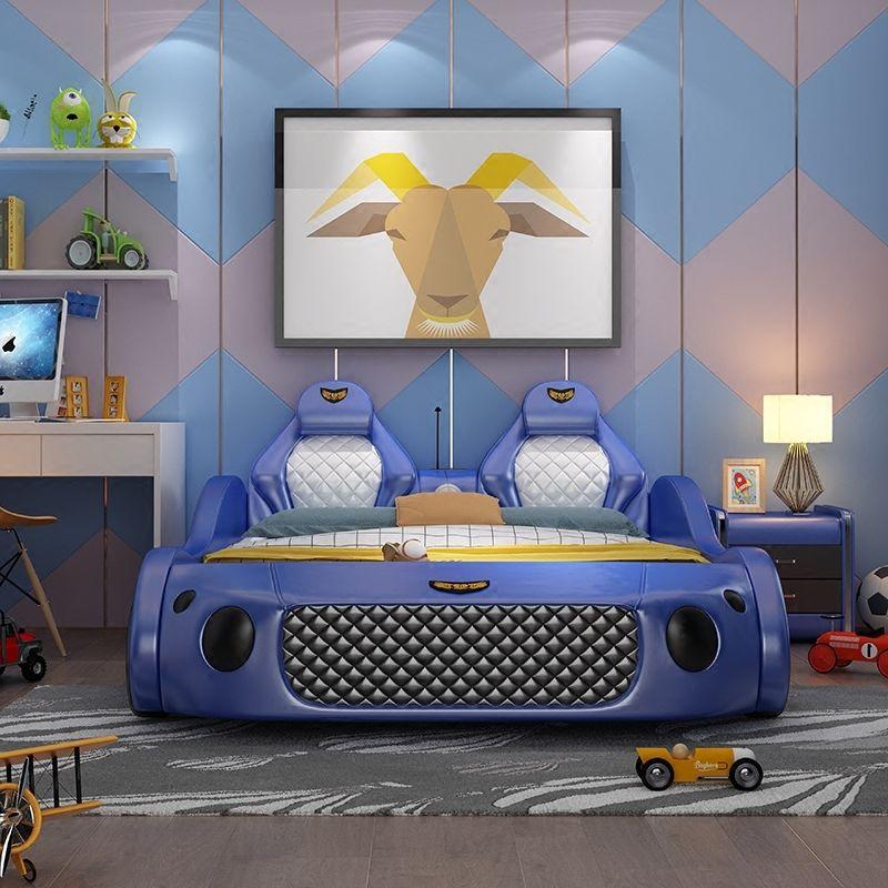 Mẫu giường ngủ ô tô thể thao đa tính năng cho bé GTE041 màu xanh da trời 2
