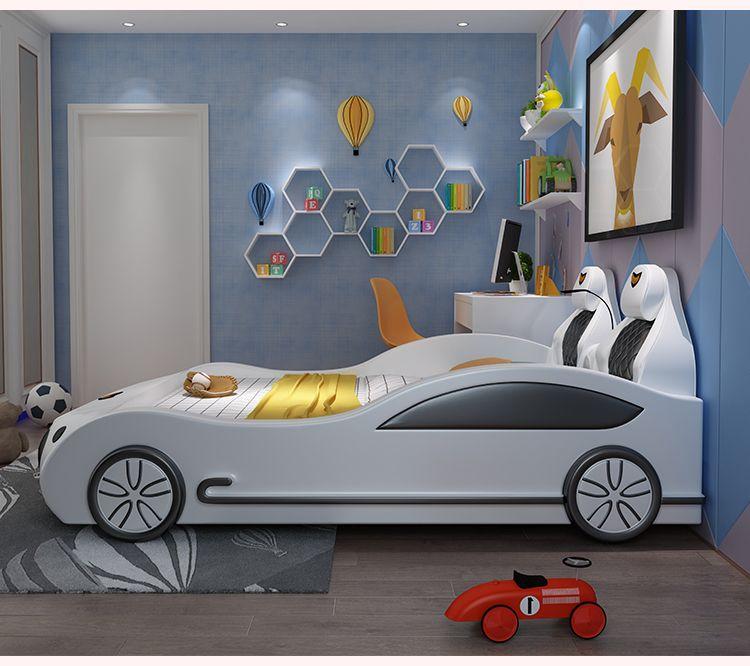 Mẫu giường ngủ ô tô thể thao đa tính năng cho bé GTE041 màu trắng 2