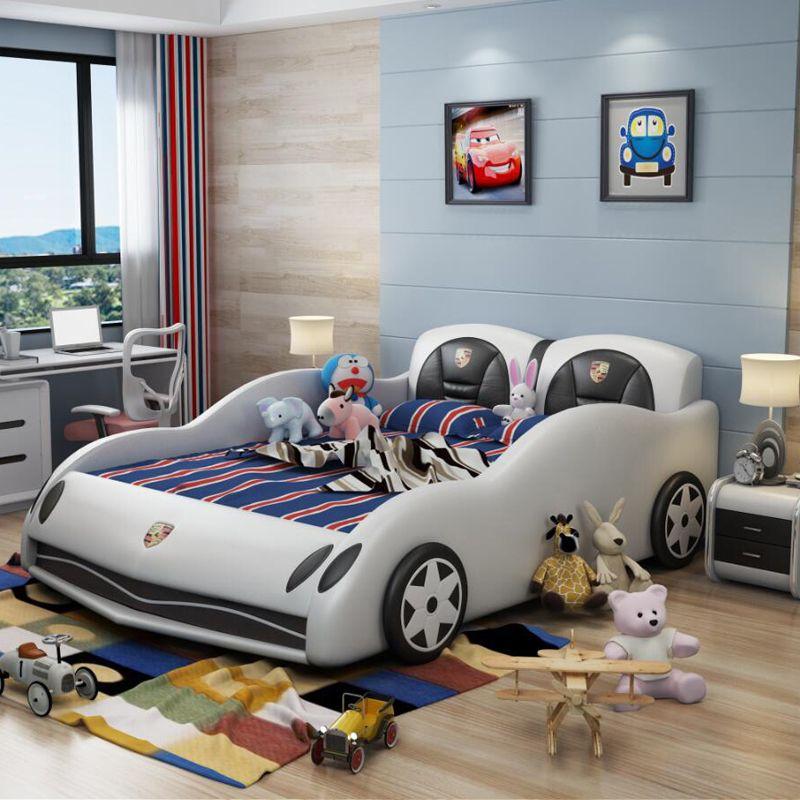 Giường ô tô thể thao đẹp cho bé trai GTE042 màu trắng