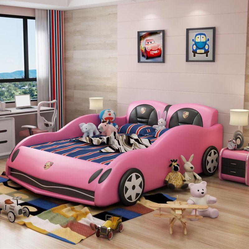 Giường ô tô thể thao đẹp cho bé trai GTE042 màu hồng