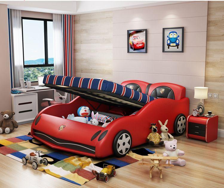 Giường ô tô thể thao đẹp cho bé trai GTE042 màu đỏ có ngăn kéo