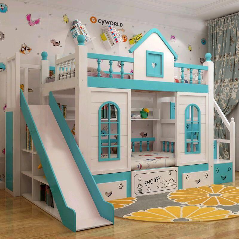 Mẫu giường tầng cho bé hình ngôi nhà có cầu thang, cầu trượt GTE033 màu xanh dương