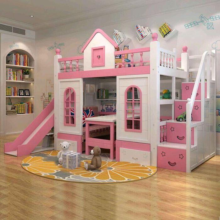 Mẫu giường tầng cho bé hình ngôi nhà có cầu thang, cầu trượt GTE033 màu hồng