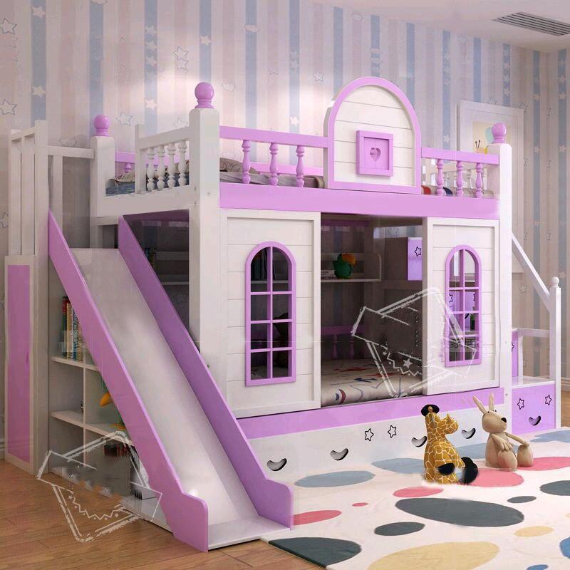 Mẫu giường tầng đẹp cho bé kiểu ngôi nhà GTE033 màu tím