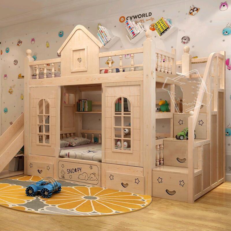 Mẫu giường tầng đẹp cho bé kiểu ngôi nhà GTE033 màu gỗ
