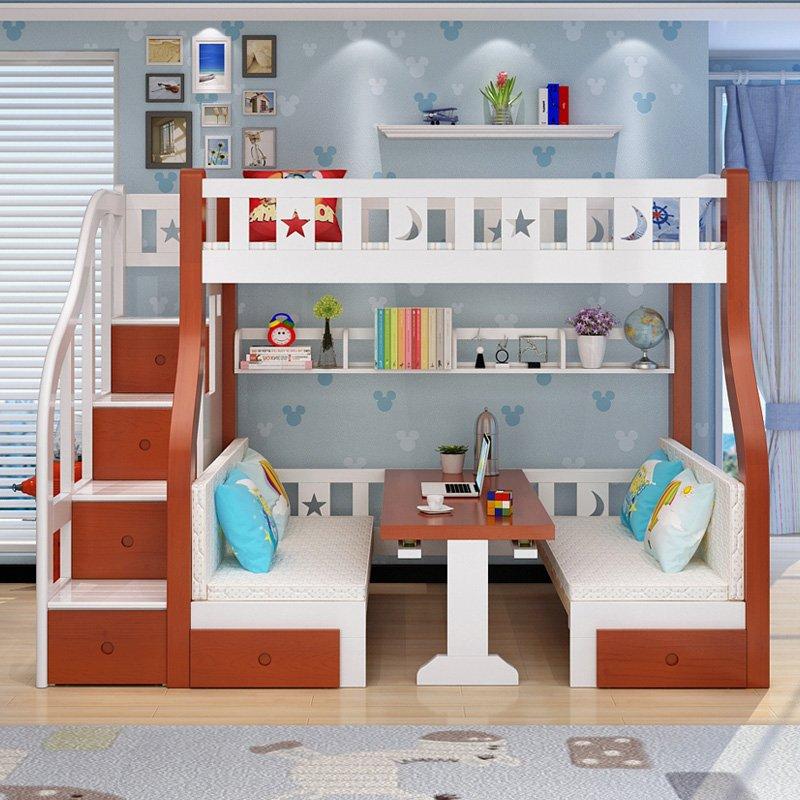 Mẫu giường tầng cho bé thông minh đa năng GTE048 màu cam