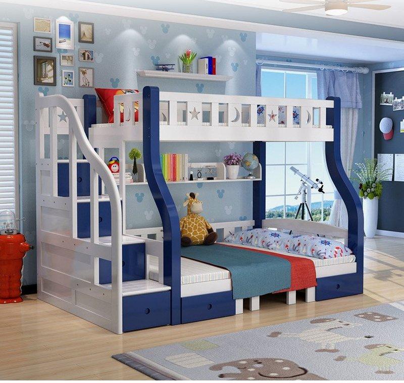Mẫu giường tầng cho bé thông minh đa năng GTE048 màu xanh nước biển