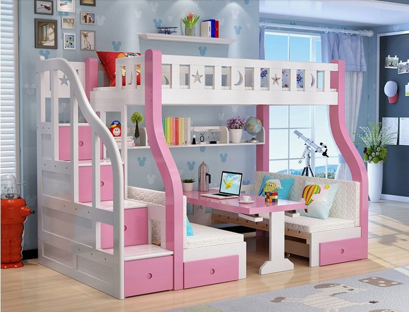 Mẫu giường tầng cho bé thông minh đa năng GTE048 màu hồng