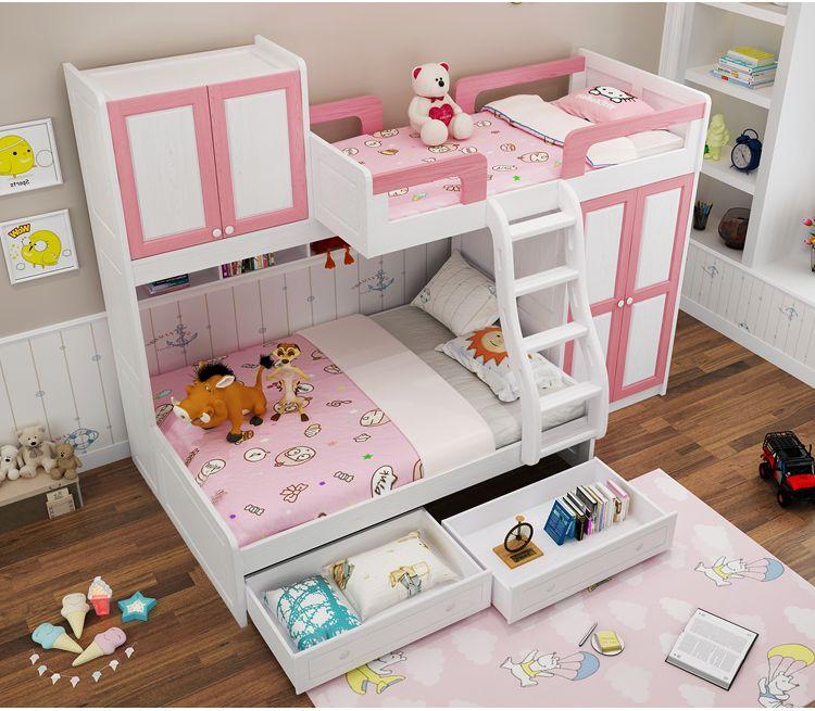 Giường tầng trẻ em gỗ tự nhiên có tủ quần áo GTE045