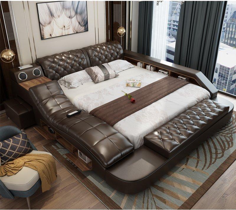 Giường tatami hiện đại bọc da cao cấp có ghế massage + âm nhạc GN005 màu nâu