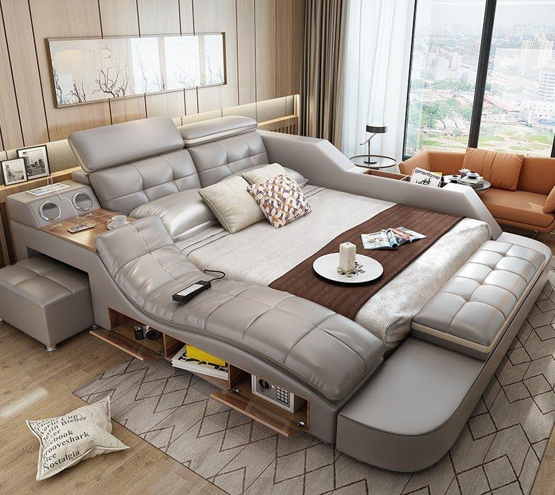 Giường ngủ tatami kiểu Nhật GN004-5 màu xám