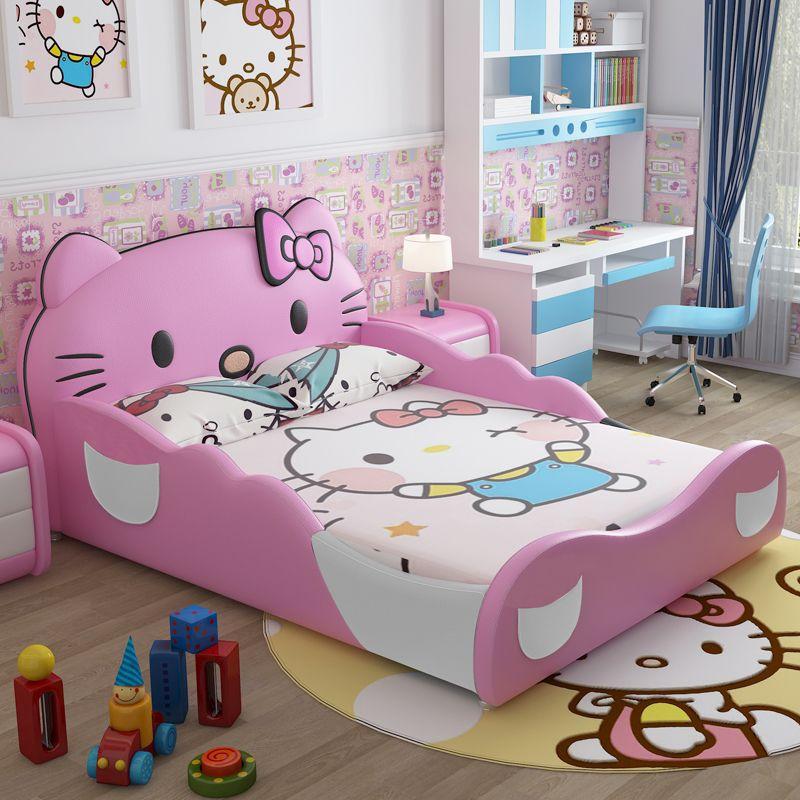 Giường ngủ trẻ em đẹp hình Hello Kitty GTE012 màu hồng