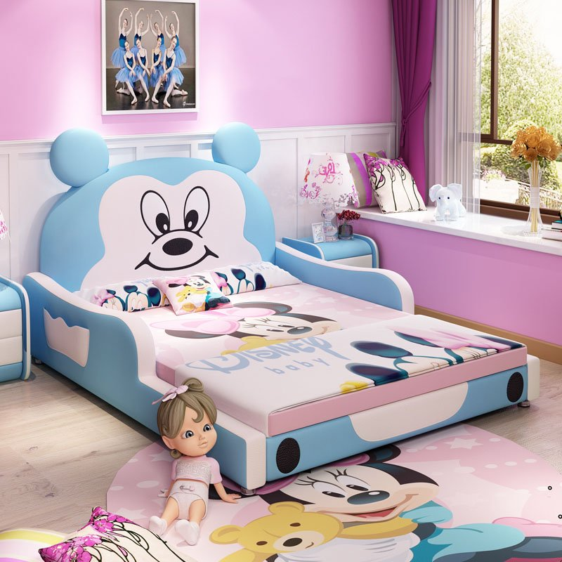 Giường trẻ em bọc da kiểu chú chuột Micky dễ thương GTE027 màu xanh dương