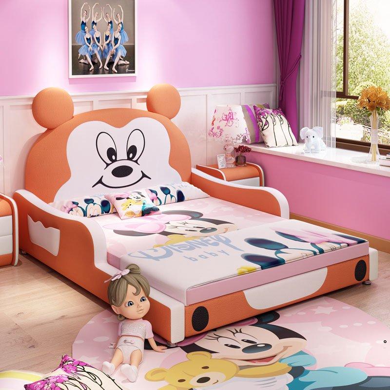 Giường trẻ em bọc da kiểu chú chuột Micky dễ thương GTE027 màu cam