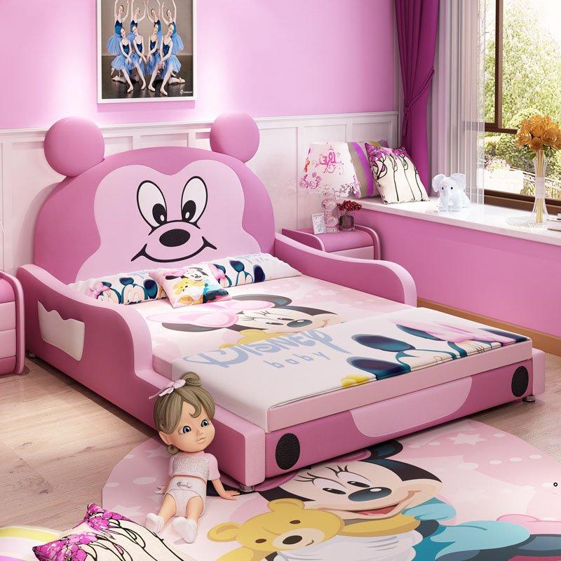Giường trẻ em bọc da kiểu chú chuột Micky dễ thương GTE027 màu hồng