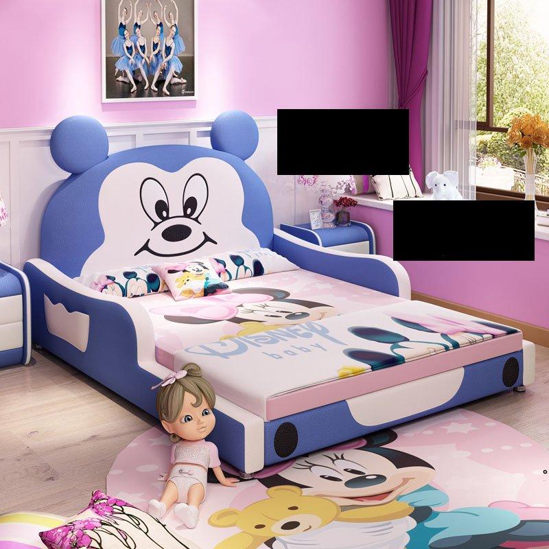 Giường trẻ em bọc da kiểu chú chuột Micky dễ thương GTE027 màu xanh nước biển