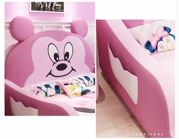 Giường trẻ em bọc da kiểu chú chuột Micky dễ thương GTE027 màu hồng 2