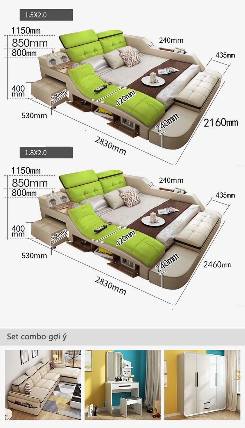 Kích cỡ giường đa năng thông minh tatami kiểu nhật GN004