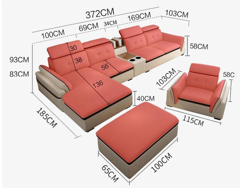 Kích thước bộ ghế sofa bọc da chữ L SF002