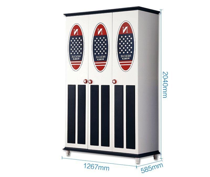 Kích thước Mẫu tủ quần áo cho bé trai lá cờ kiểu Mỹ TTE002 2