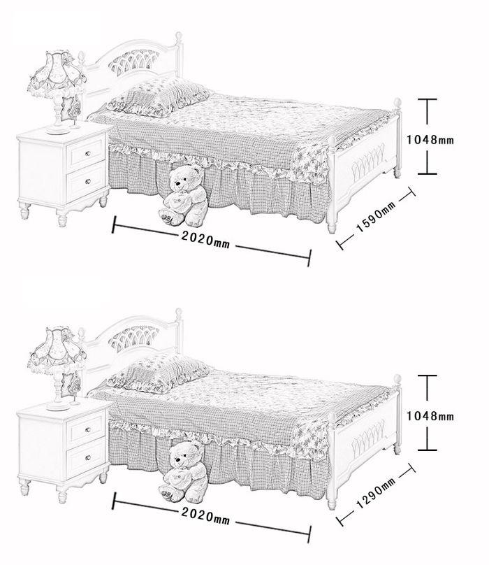 Kích cỡ Giường ngủ công chúa đẹp GTE009