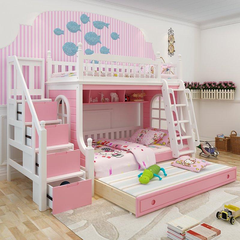 Mẫu giường tầng trẻ em đẹp GTE046 có giường phụ