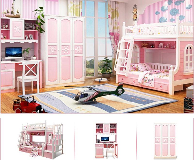 Nội thất giường tầng cho trẻ em màu hồng GTE046
