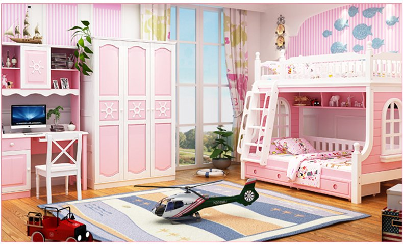 Nội thất giường tầng cho trẻ em màu hồng GTE046 2