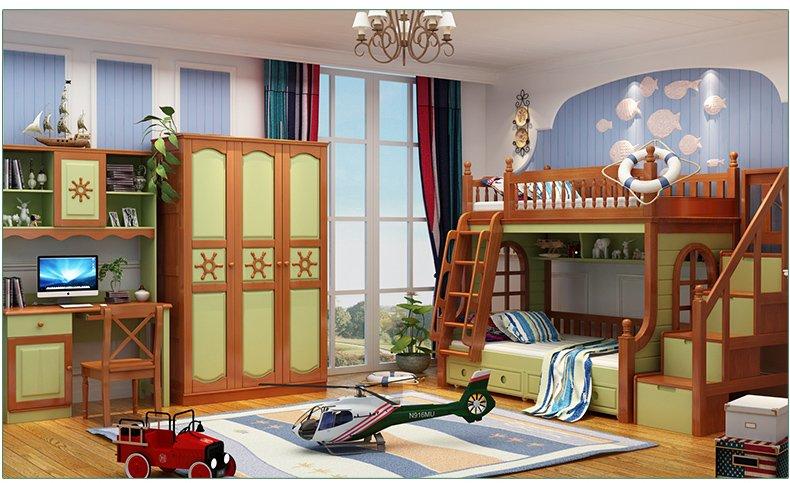Nội thất giường tầng cho trẻ em màu vàng GTE046 2