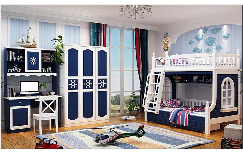 Nội thất giường tầng cho trẻ em màu xanh GTE046 2