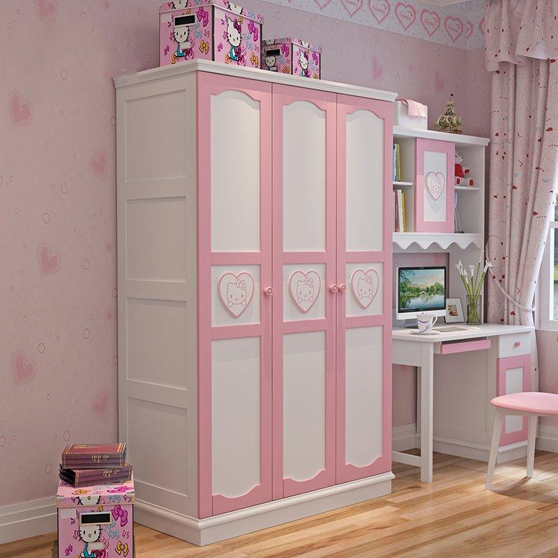 Tủ quần áo trẻ em màu hồng phấn bằng gỗ TTE003