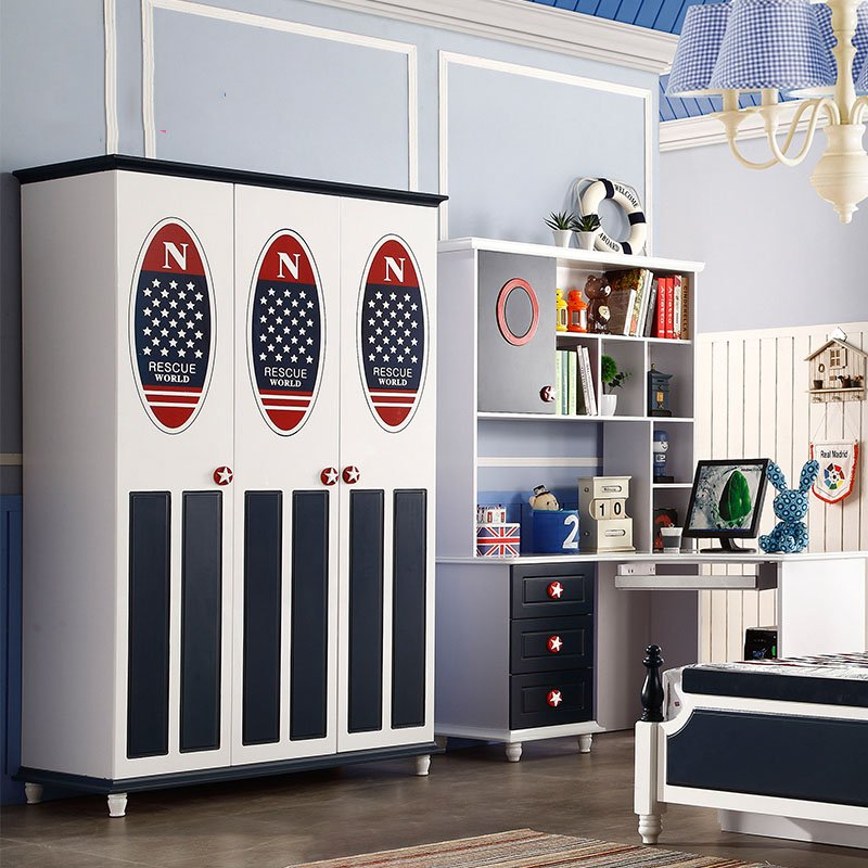 Mẫu tủ quần áo cho bé trai lá cờ kiểu Mỹ TTE002