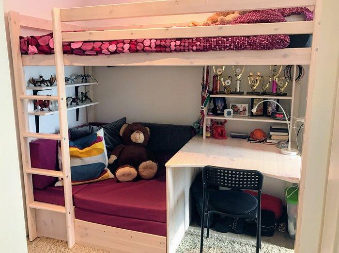 Giường tầng kết hợp bàn học làm bằng gỗ tự nhiên