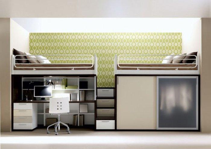 Giường tầng đôi vừa đựng quần áo lại còn có thể làm bàn học tách biệt