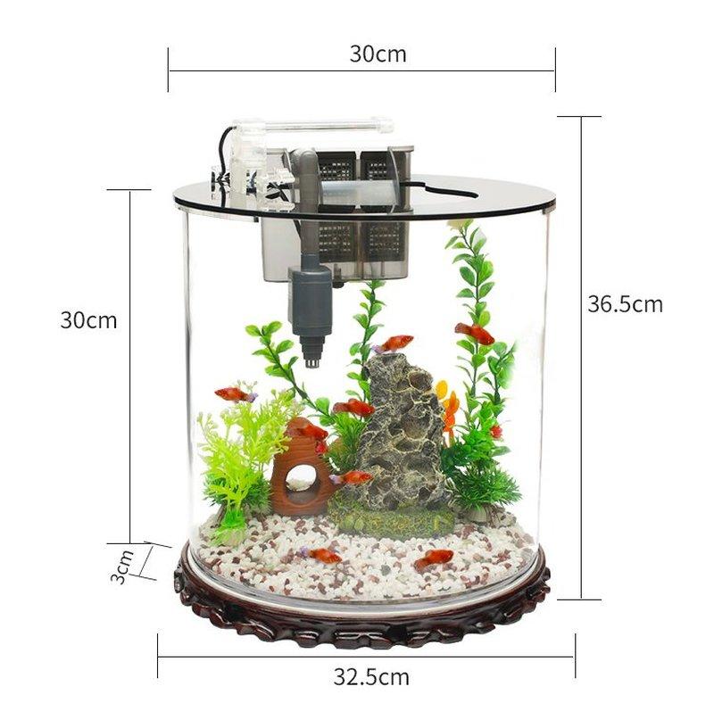 Kích thước Bể cá mini để bàn hình trụ tròn BC002