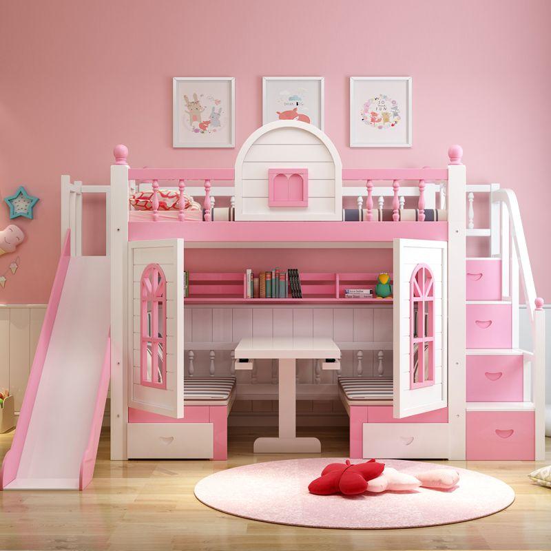 Giường trẻ em thông minh kiểu ngôi nhà GTE059 màu hồng ( có cầu trượt)