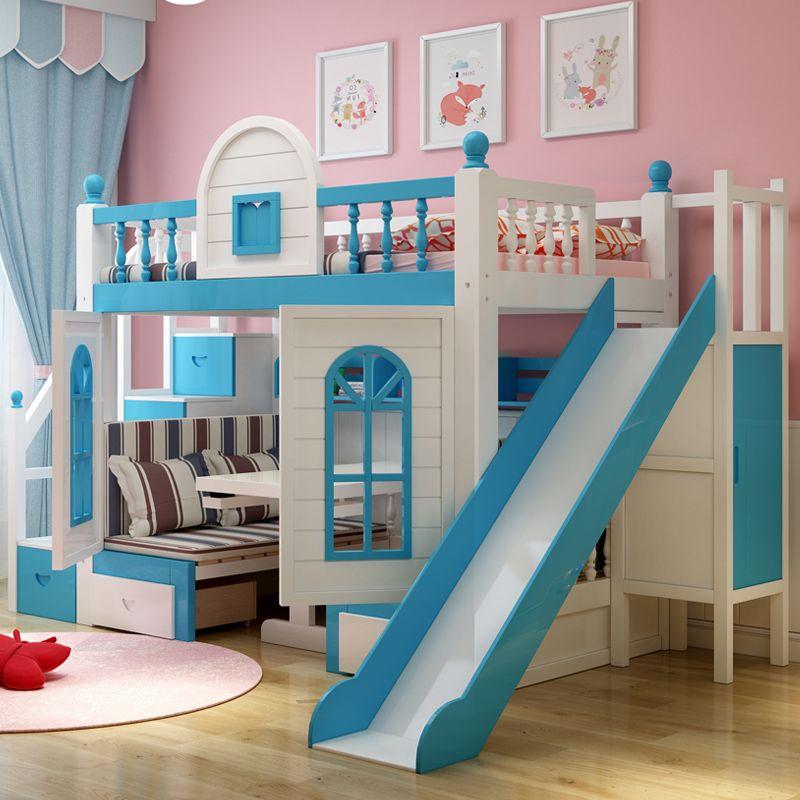 Giường trẻ em thông minh kiểu ngôi nhà GTE059 màu xanh dương( có cầu trượt)