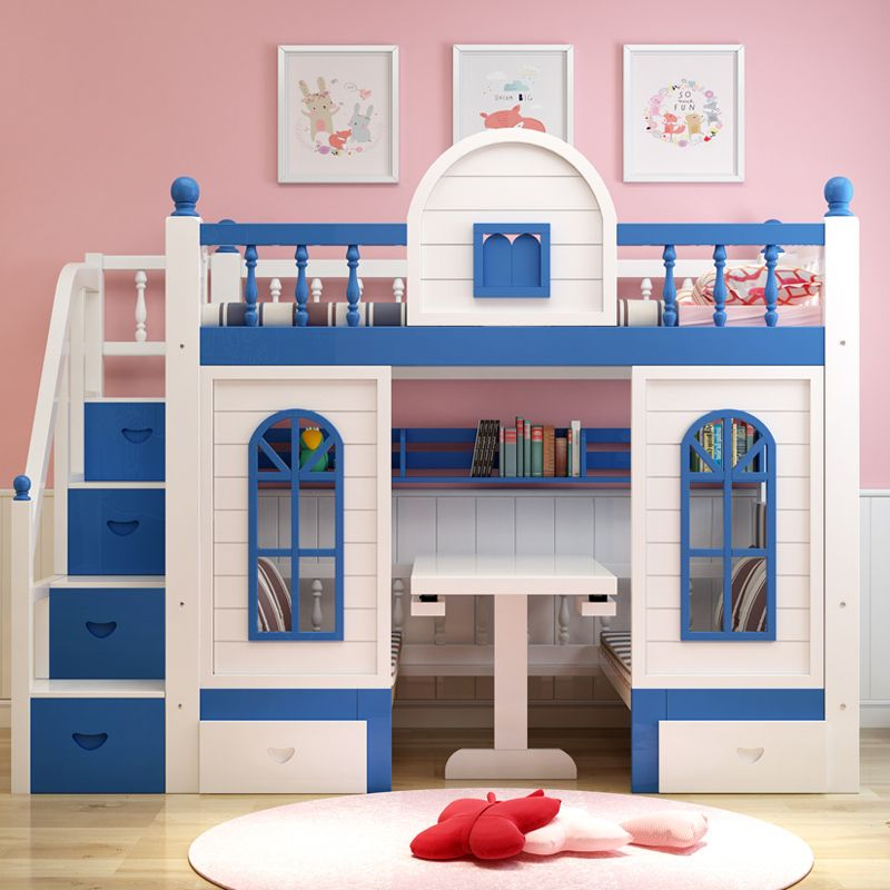 Giường trẻ em thông minh kiểu ngôi nhà GTE059 màu xanh da trời