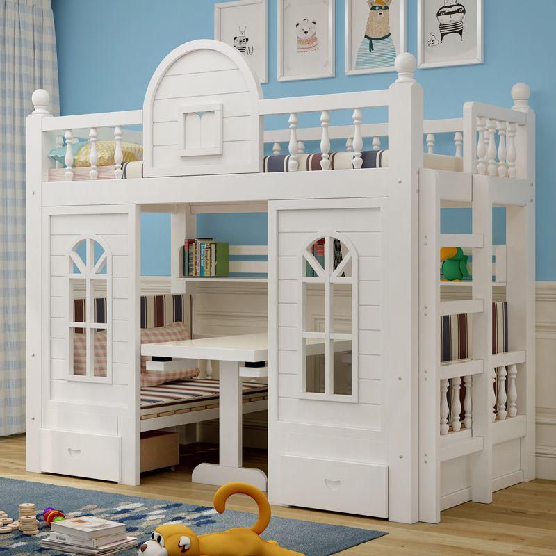Giường trẻ em thông minh kiểu ngôi nhà GTE059 màu trắng