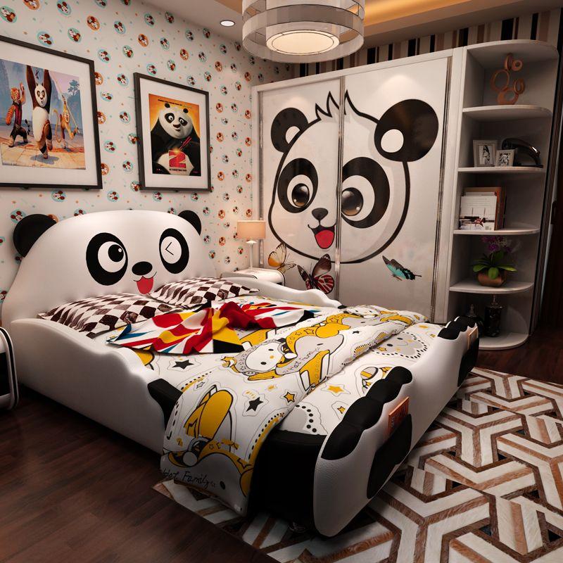 Giường cho bé hình chú gấu Panda dễ thương GTE030 màu trắng