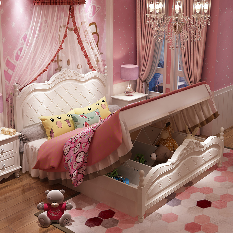 Giường công chúa màu trắng kiểu tân cổ điển châu âu GTE017 loại đa năng có ngăn gấp