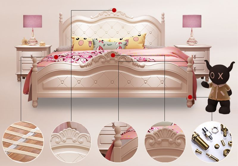 Giường công chúa màu trắng kiểu tân cổ điển châu âu GTE017 2