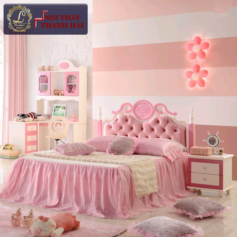 Giường công chúa màu hồng dễ thương cho bé gái GTE025