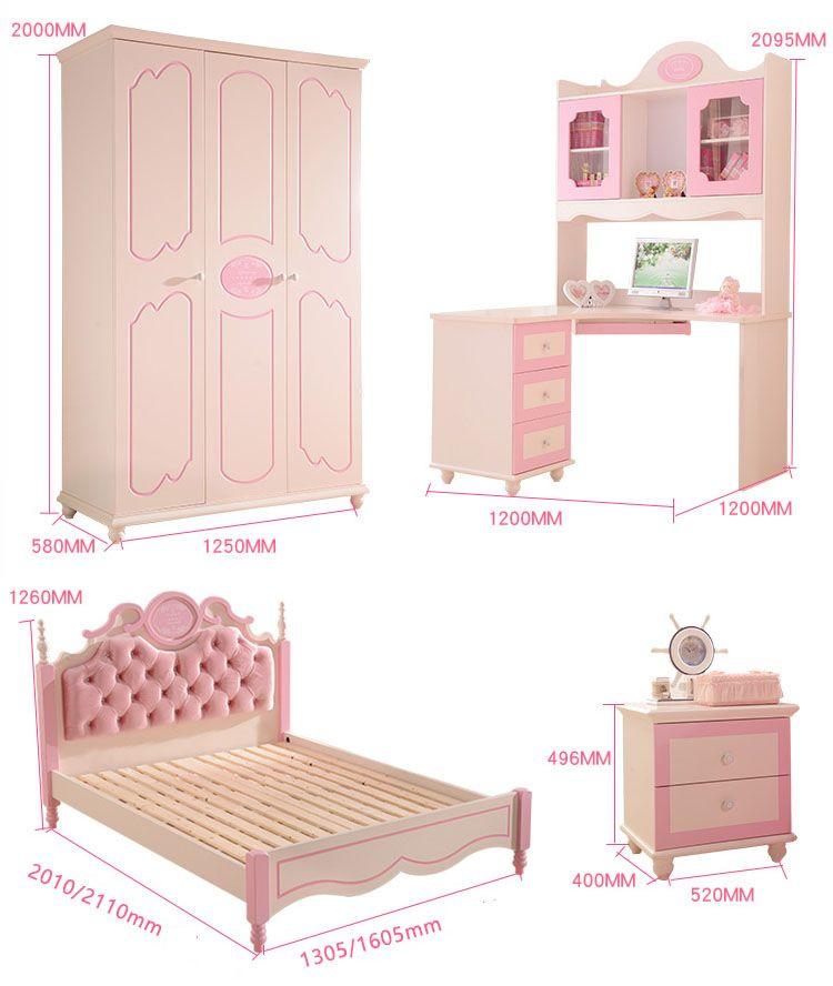 Giường công chúa màu hồng dễ thương cho bé gái GTE025 7