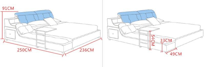 Kích thước giường hiện đại bọc da tiện ích có ngăn kéo GN007 5