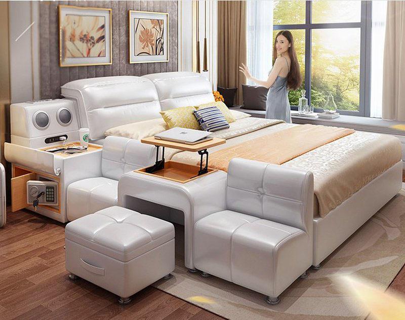 Giường hiện đại có bàn ghế uống nước GN009 1