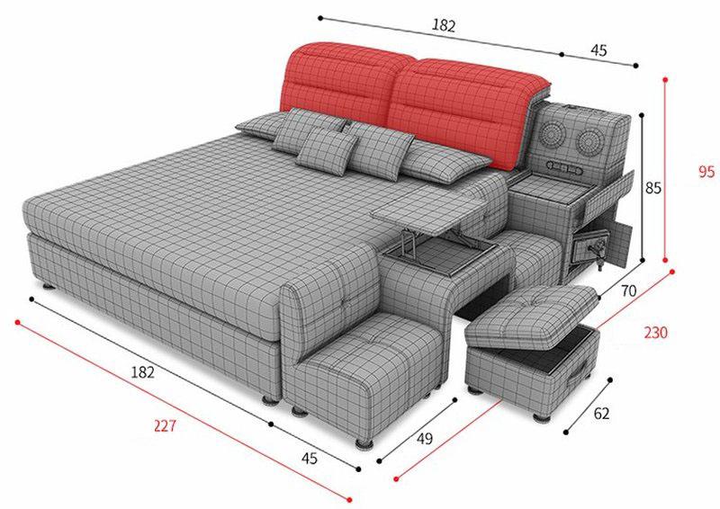 Kích thước giường hiện đại có bàn ghế uống nước GN009 8