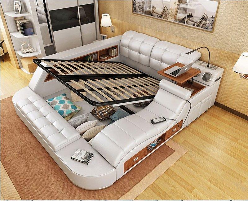 Giường hiện đại đa năng có ngăn kéo và ghế massage GN011