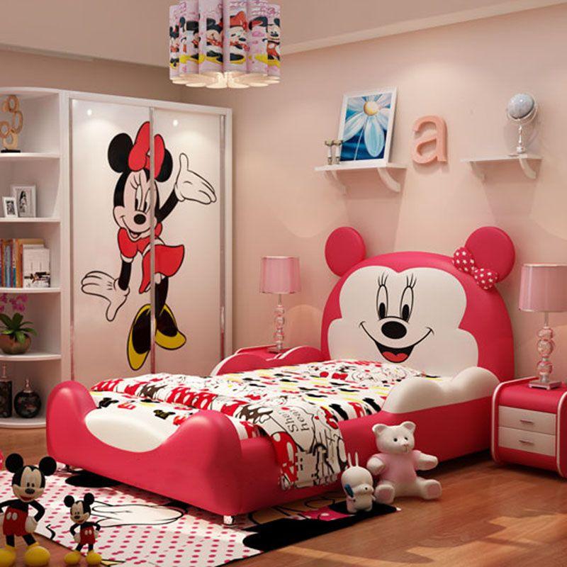 Giường hoạt hình chú chuột Micky dễ thương GTE032 màu đỏ